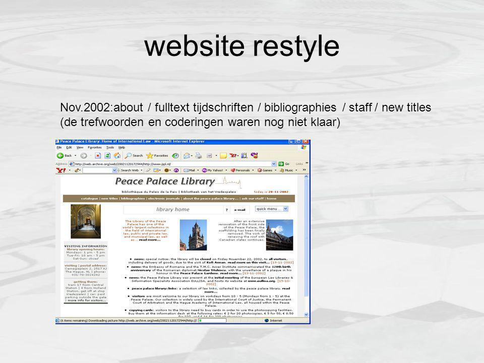 website restyle Nov.2002:about / fulltext tijdschriften / bibliographies / staff / new titles (de trefwoorden en coderingen waren nog niet klaar)