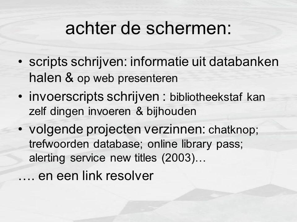 plinklet (dec 2003) gebouwd à la SFX, OpenURL scripts: PHP met simpele services beginnen meer over dit boek bij Google   zoek deze auteur via Google   kijk in catalogus belangrijkst: directe link naar fulltext