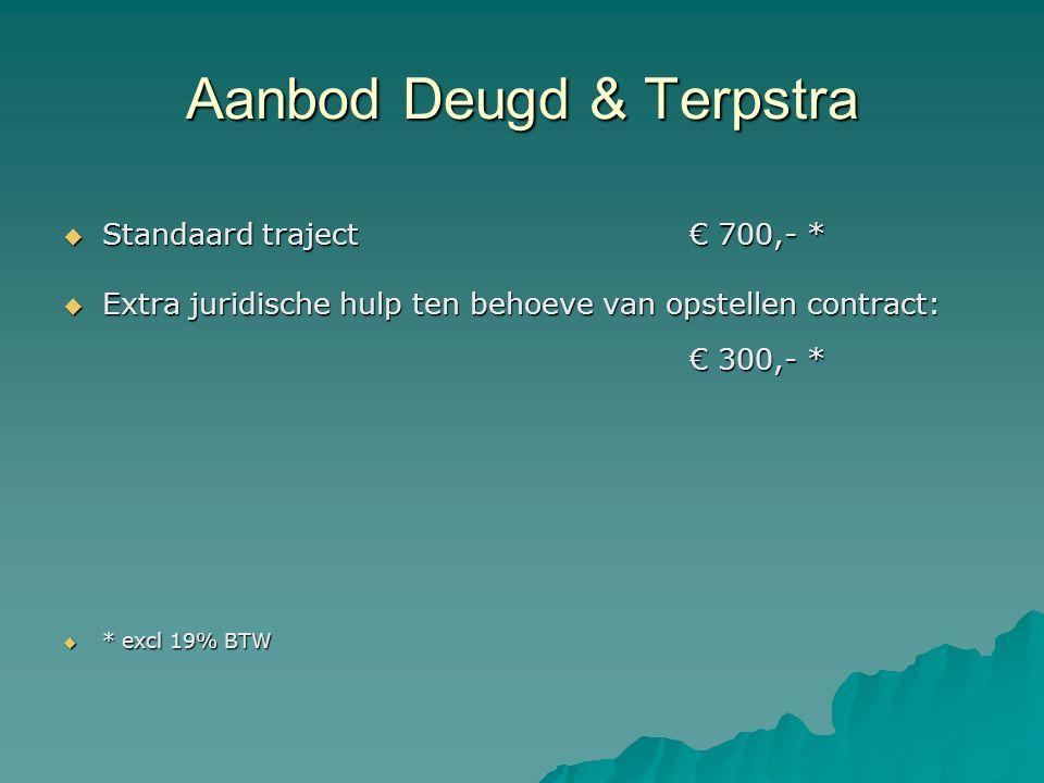 Aanbod Deugd & Terpstra  Standaard traject€ 700,- *  Extra juridische hulp ten behoeve van opstellen contract: € 300,- *  * excl 19% BTW