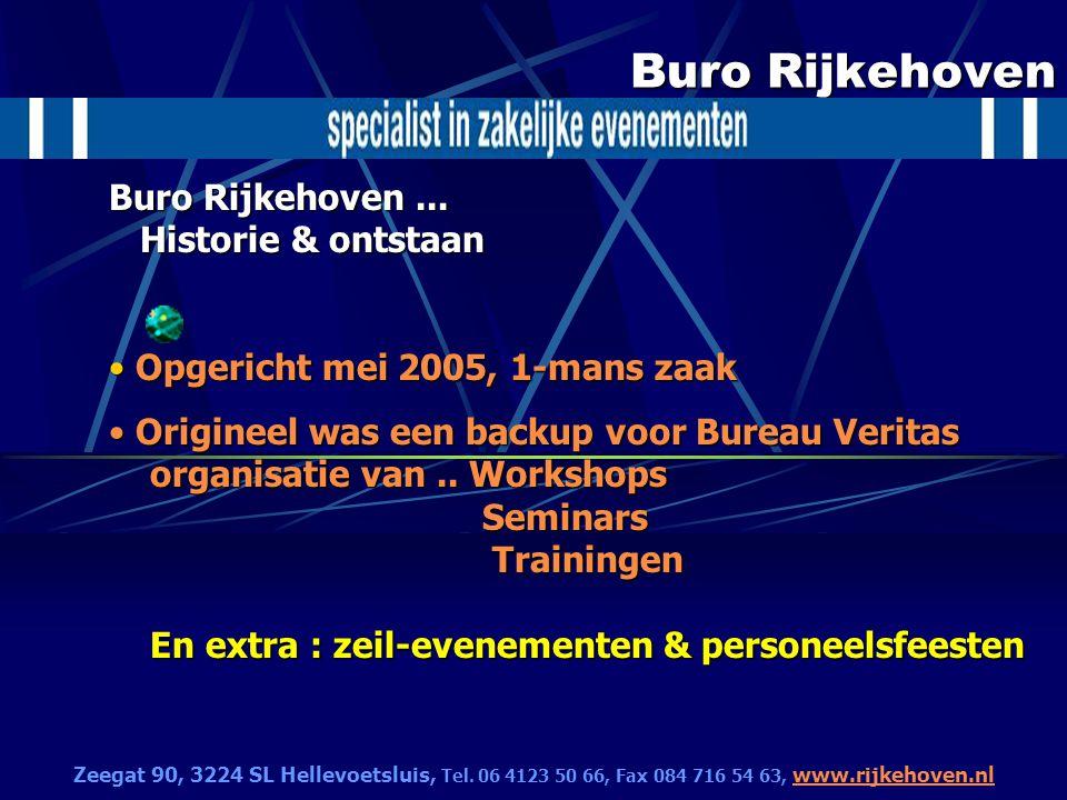 Buro Rijkehoven Buro Rijkehoven... Historie & ontstaan Opgericht mei 2005, 1-mans zaak Opgericht mei 2005, 1-mans zaak Origineel was een backup voor B