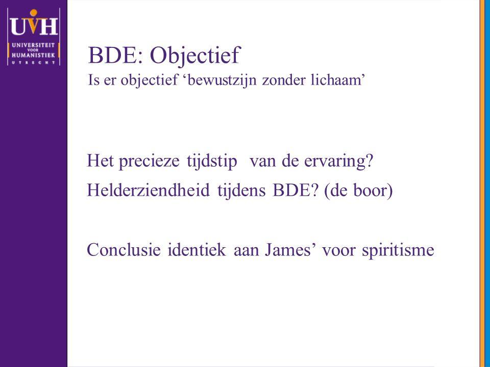 BDE: Objectief Is er objectief 'bewustzijn zonder lichaam' Het precieze tijdstip van de ervaring? Helderziendheid tijdens BDE? (de boor) Conclusie ide