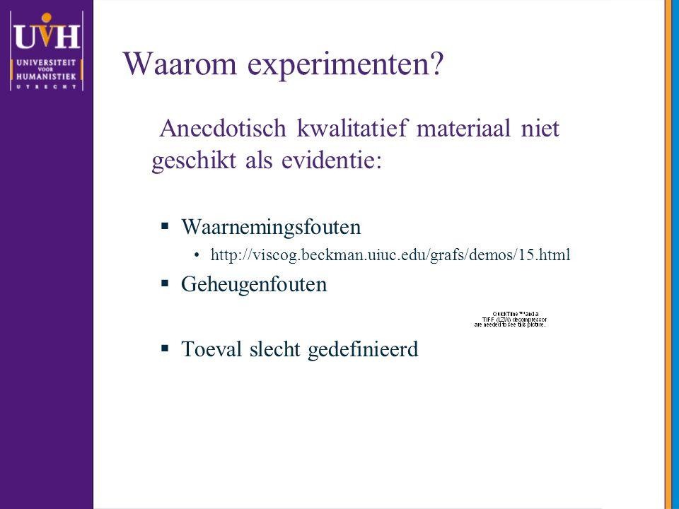 Waarom experimenten? Anecdotisch kwalitatief materiaal niet geschikt als evidentie:  Waarnemingsfouten http://viscog.beckman.uiuc.edu/grafs/demos/15.