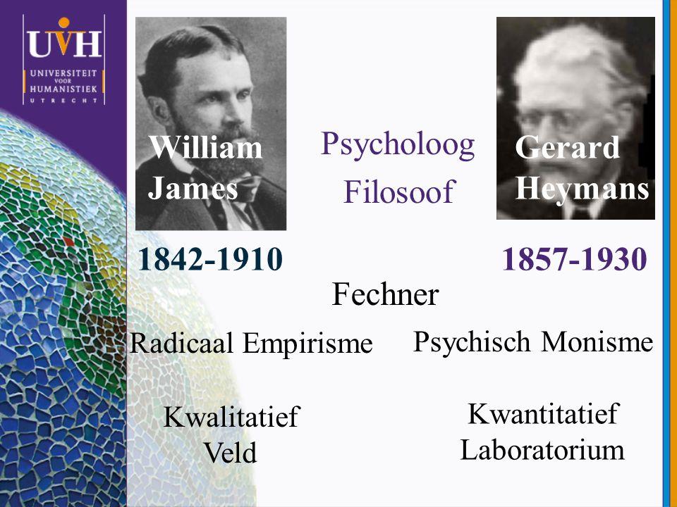 William James Psycholoog Filosoof Gerard Heymans 1842-19101857-1930 Radicaal Empirisme Psychisch Monisme Kwalitatief Veld Kwantitatief Laboratorium Fe