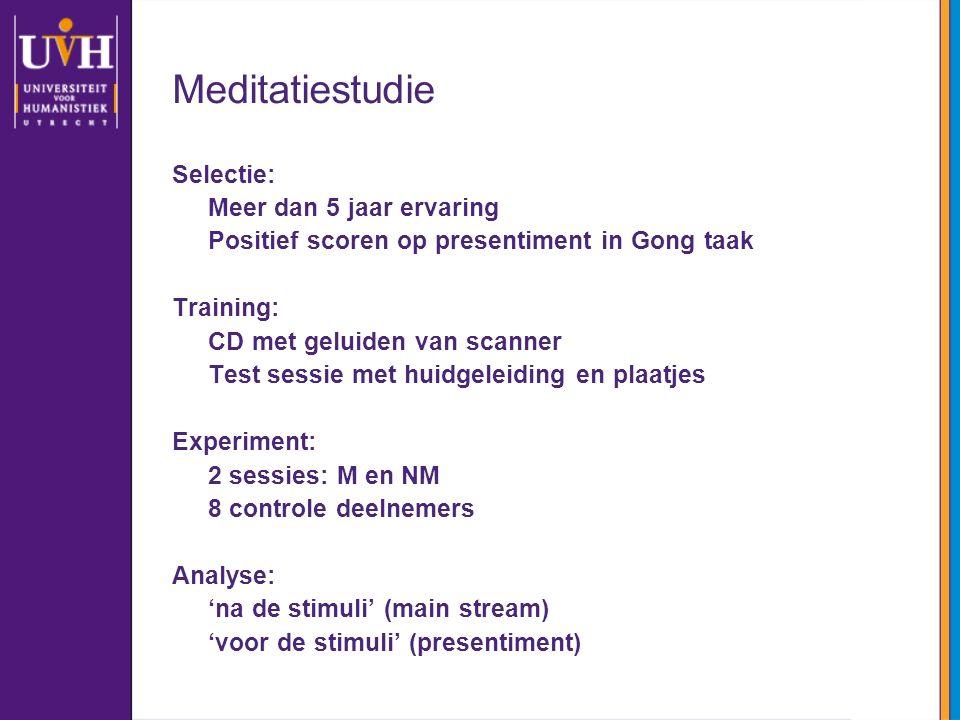 Meditatiestudie Selectie: Meer dan 5 jaar ervaring Positief scoren op presentiment in Gong taak Training: CD met geluiden van scanner Test sessie met
