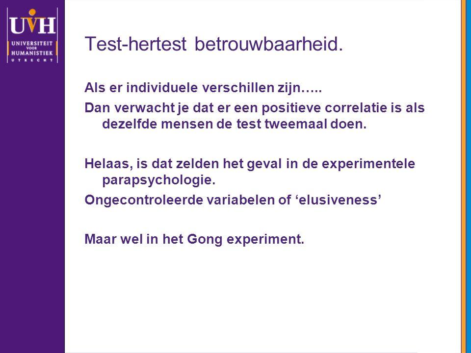 Test-hertest betrouwbaarheid. Als er individuele verschillen zijn….. Dan verwacht je dat er een positieve correlatie is als dezelfde mensen de test tw