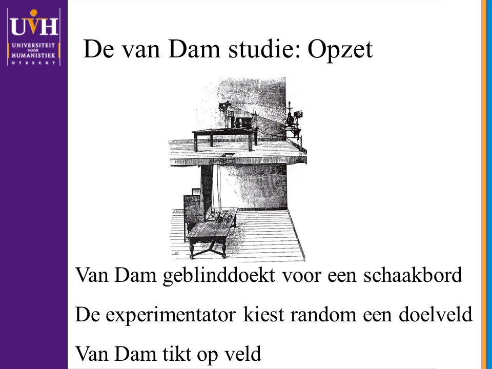 De van Dam studie: Opzet Van Dam geblinddoekt voor een schaakbord De experimentator kiest random een doelveld Van Dam tikt op veld