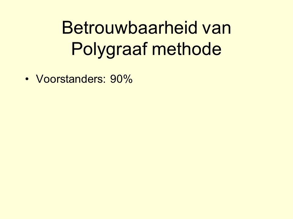 Betrouwbaarheid van Polygraaf methode Voorstanders: 90% A 1997 survey of 421 psychologists estimated the test s average accuracy at about 61%, a little better than chance....