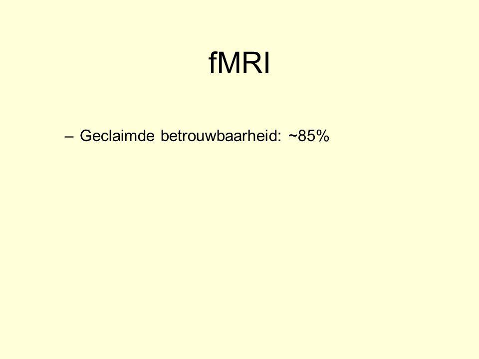 fMRI –Geclaimde betrouwbaarheid: ~85% –Left Inferior Frontal Cortex : Minder gevoelig voor faken? –Mag niet bewegen –Middelen nodig