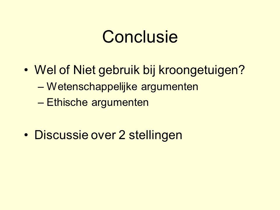 Conclusie Wel of Niet gebruik bij kroongetuigen? –Wetenschappelijke argumenten –Ethische argumenten Discussie over 2 stellingen