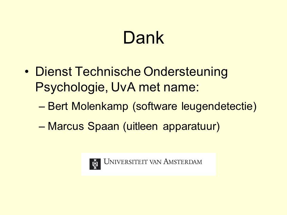 Dank Dienst Technische Ondersteuning Psychologie, UvA met name: –Bert Molenkamp (software leugendetectie) –Marcus Spaan (uitleen apparatuur)