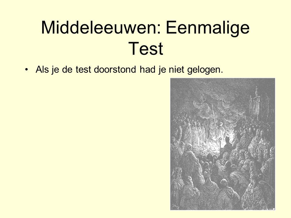 Middeleeuwen: Eenmalige Test Als je de test doorstond had je niet gelogen. –Kokend water test –Vuur test –Ei-doorgeef test Etc. –en.wikipedia.org/wiki
