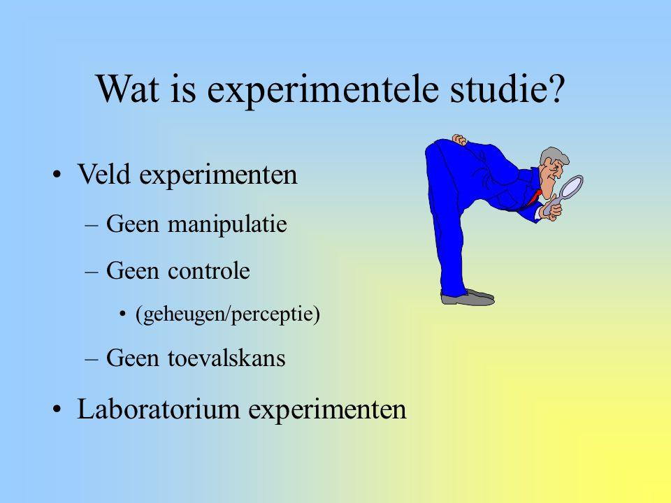 Wat is experimentele studie? Veld experimenten –Geen manipulatie –Geen controle (geheugen/perceptie) –Geen toevalskans Laboratorium experimenten