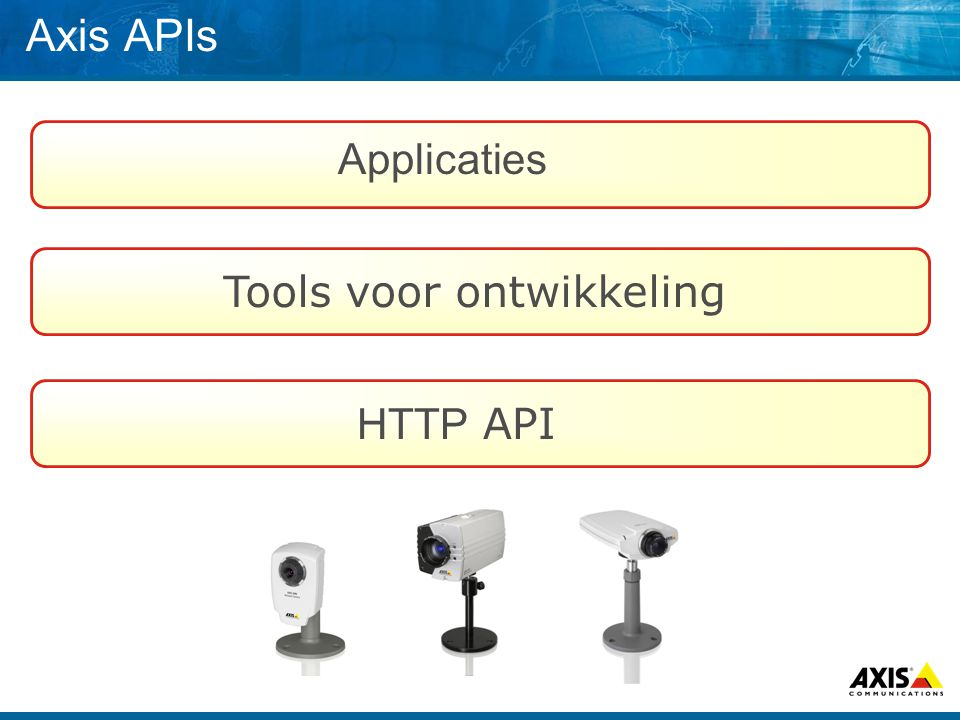Axis APIs HTTP API Tools voor ontwikkeling Applicaties