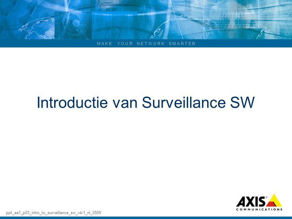 M A K E Y O U R N E T W O R K S M A R T E R Introductie van Surveillance SW ppt_aa1_p03_intro_to_surveillance_sw_v4-1_nl_0509