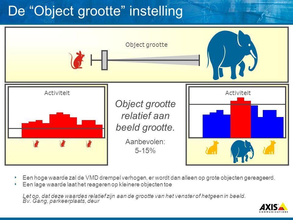 De Object grootte instelling Object grootte Activiteit  Een hoge waarde zal de VMD drempel verhogen, er wordt dan alleen op grote objecten gereageerd.