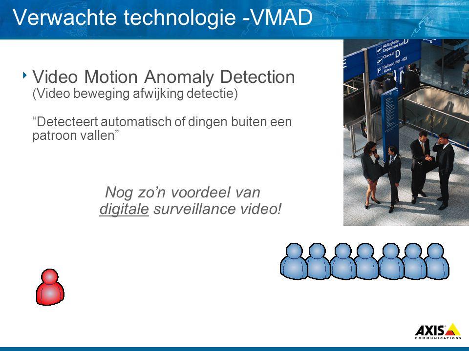 Verwachte technologie -VMAD  Video Motion Anomaly Detection (Video beweging afwijking detectie) Detecteert automatisch of dingen buiten een patroon vallen Nog zo'n voordeel van digitale surveillance video!