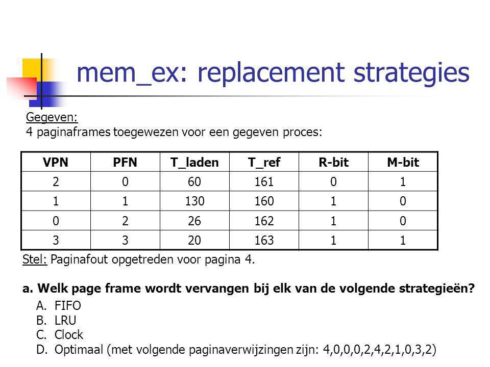 mem_ex: replacement strategies Gegeven: 4 paginaframes toegewezen voor een gegeven proces: VPNPFNT_ladenT_refR-bitM-bit 206016101 1113016010 022616210 332016311 Stel: Paginafout opgetreden voor pagina 4.