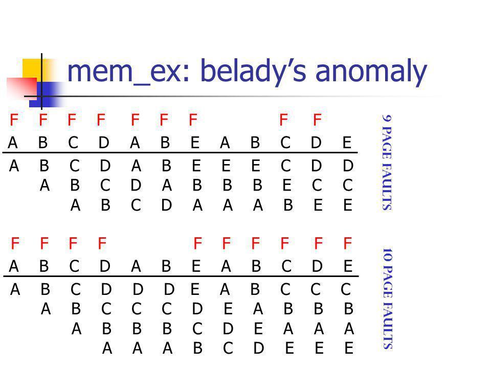 mem_ex: belady's anomaly A B C D A B E A B C D E A B C D A B E E E C D D A B C D A B B B E C C A B C D A A A B E E F F F F F F F F F 9 page faults A B C D A B E A B C D E A B C D D D E A B C C C A B C C C D E A B B B A B B B C D E A A A A A A B C D E E E F F F F F 10 page faults
