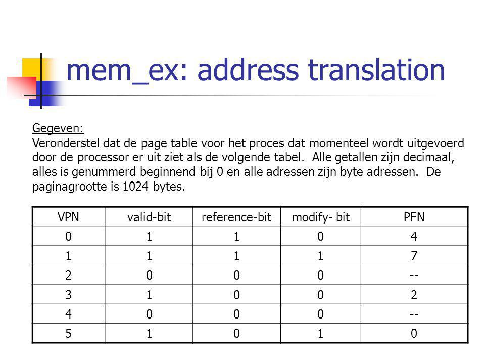 Geheugen: oefening 2 VPNvalid-bitreference-bitmodify- bitPFN 01104 11117 2000-- 31002 4000 51010 Gevraagd: Met welke fysieke adressen zouden de volgende virtuele adressen overeenkomen.