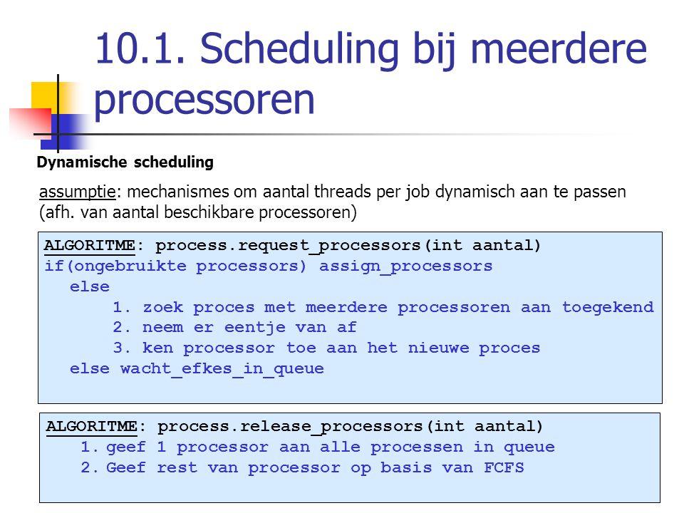 10.1. Scheduling bij meerdere processoren Dynamische scheduling assumptie: mechanismes om aantal threads per job dynamisch aan te passen (afh. van aan