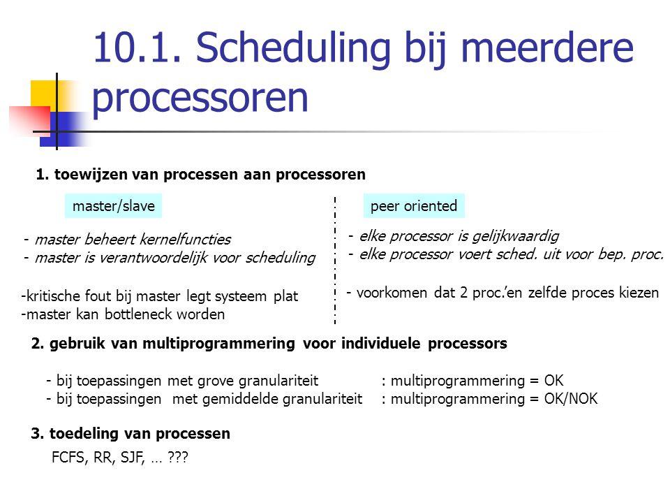 10.1. Scheduling bij meerdere processoren 1. toewijzen van processen aan processoren master/slavepeer oriented - master beheert kernelfuncties - maste
