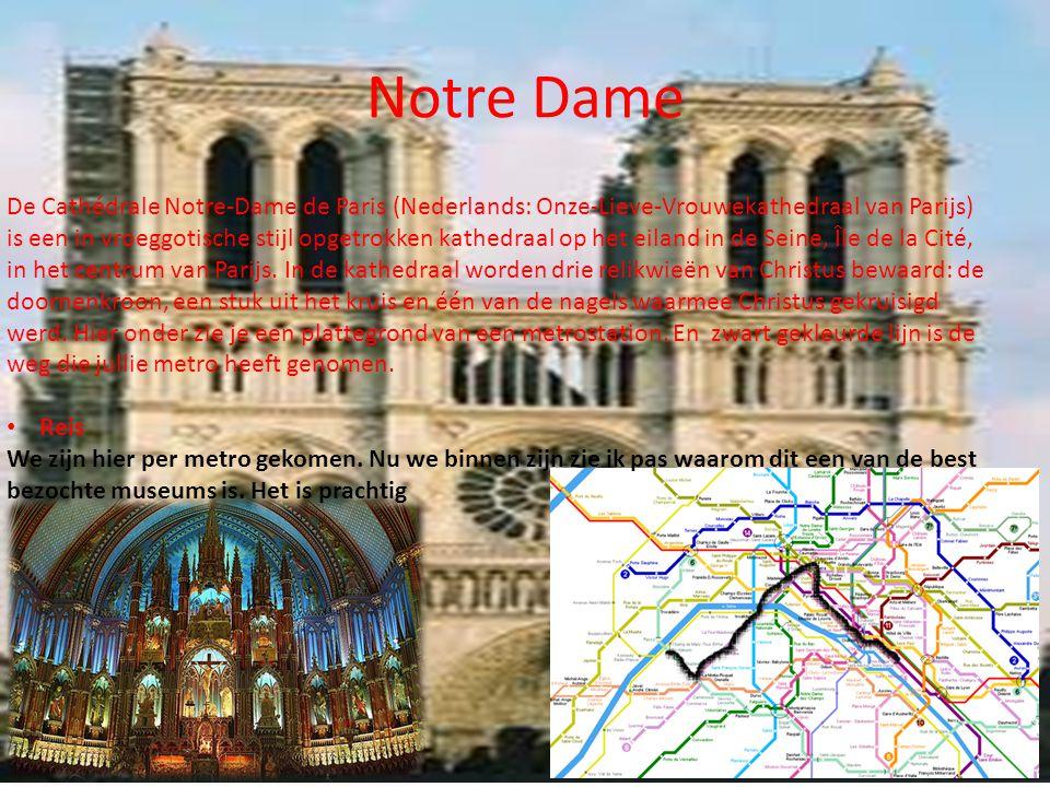 Notre Dame De Cathédrale Notre-Dame de Paris (Nederlands: Onze-Lieve-Vrouwekathedraal van Parijs) is een in vroeggotische stijl opgetrokken kathedraal op het eiland in de Seine, Île de la Cité, in het centrum van Parijs.