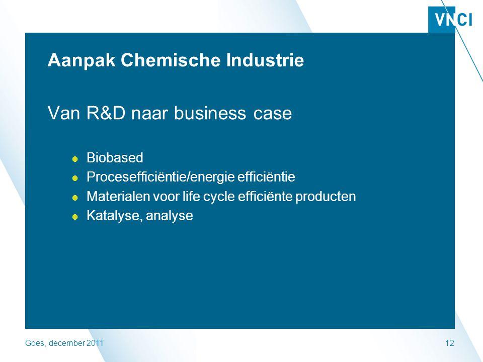 Goes, december 201112 Aanpak Chemische Industrie Van R&D naar business case Biobased Procesefficiëntie/energie efficiëntie Materialen voor life cycle efficiënte producten Katalyse, analyse