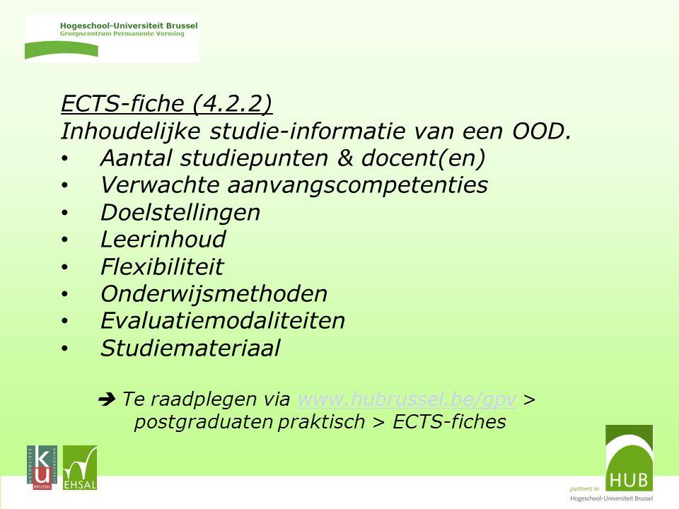 ECTS-fiche (4.2.2) Inhoudelijke studie-informatie van een OOD.