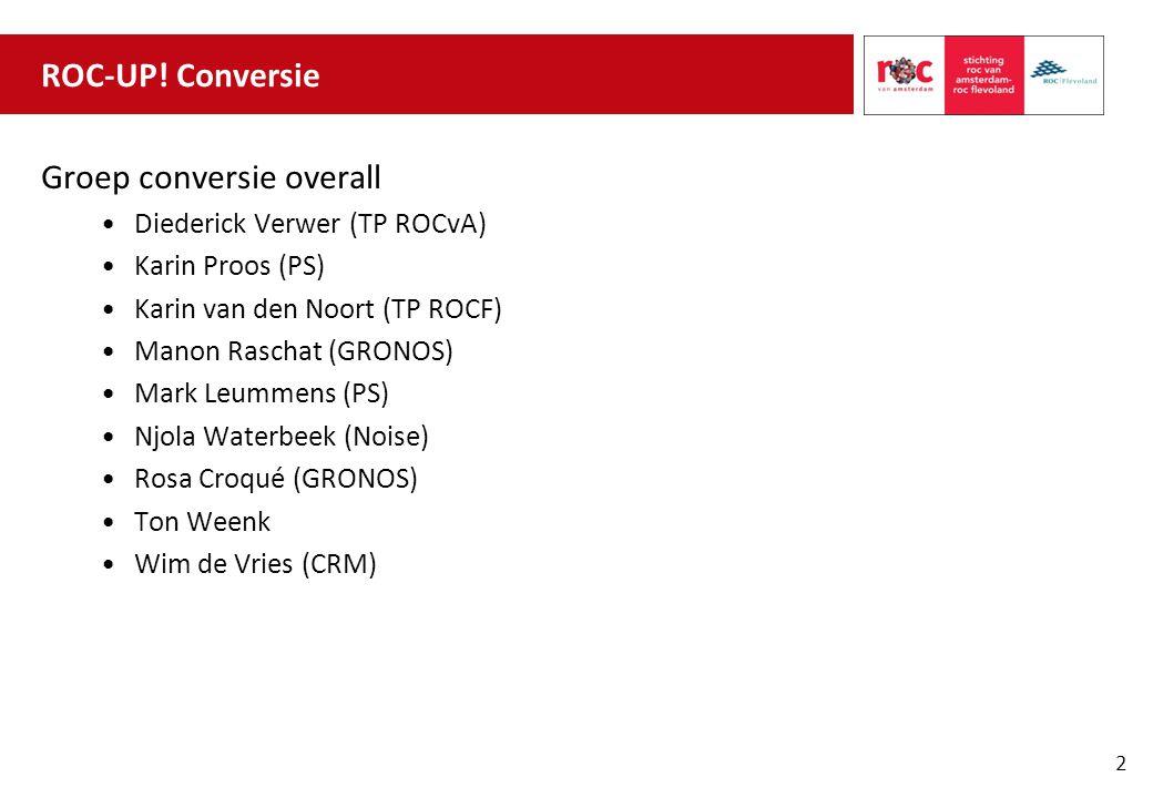 ROC-UP! Conversie Groep conversie overall Diederick Verwer (TP ROCvA) Karin Proos (PS) Karin van den Noort (TP ROCF) Manon Raschat (GRONOS) Mark Leumm