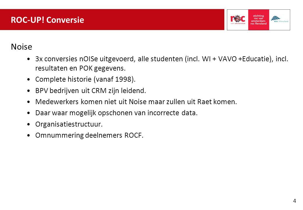 ROC-UP! Conversie Noise 3x conversies nOISe uitgevoerd, alle studenten (incl. WI + VAVO +Educatie), incl. resultaten en POK gegevens. Complete histori