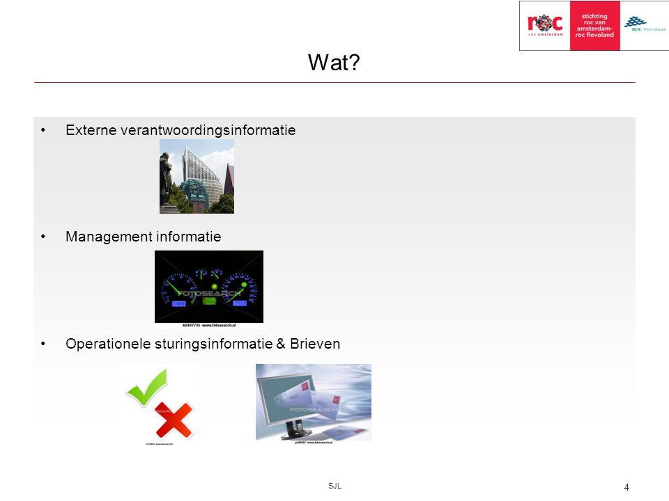 Wat? Externe verantwoordingsinformatie Management informatie Operationele sturingsinformatie & Brieven SJL 4