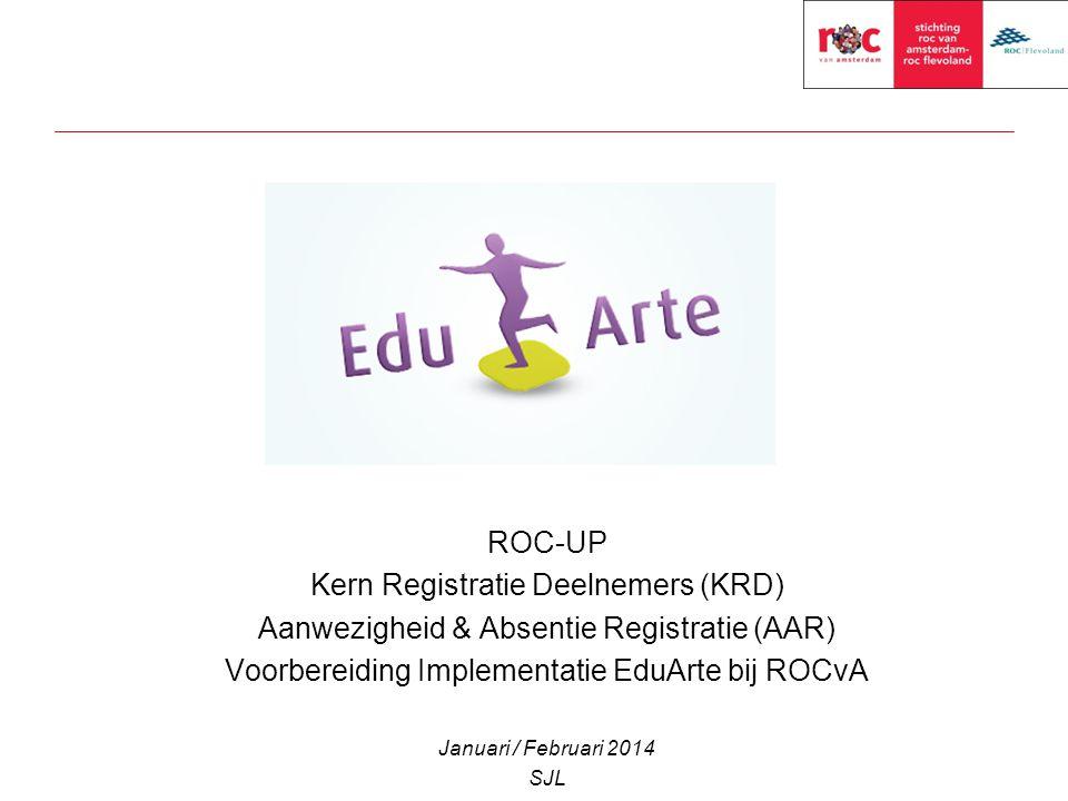 ROC-UP Kern Registratie Deelnemers (KRD) Aanwezigheid & Absentie Registratie (AAR) Voorbereiding Implementatie EduArte bij ROCvA Januari / Februari 20