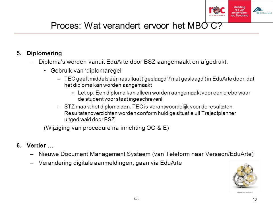 Proces: Wat verandert ervoor het MBO C? 5.Diplomering –Diploma's worden vanuit EduArte door BSZ aangemaakt en afgedrukt: Gebruik van 'diplomaregel' –T