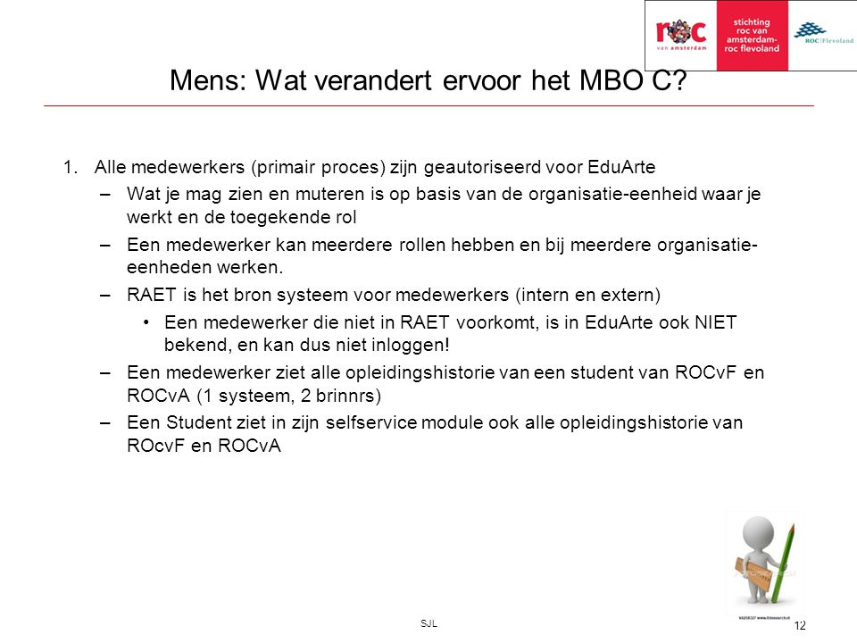 Mens: Wat verandert ervoor het MBO C? 1.Alle medewerkers (primair proces) zijn geautoriseerd voor EduArte –Wat je mag zien en muteren is op basis van
