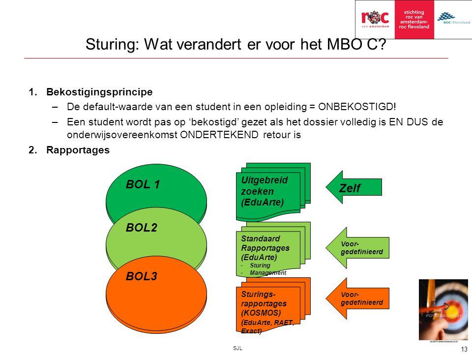 Sturing: Wat verandert er voor het MBO C? 1.Bekostigingsprincipe –De default-waarde van een student in een opleiding = ONBEKOSTIGD! –Een student wordt