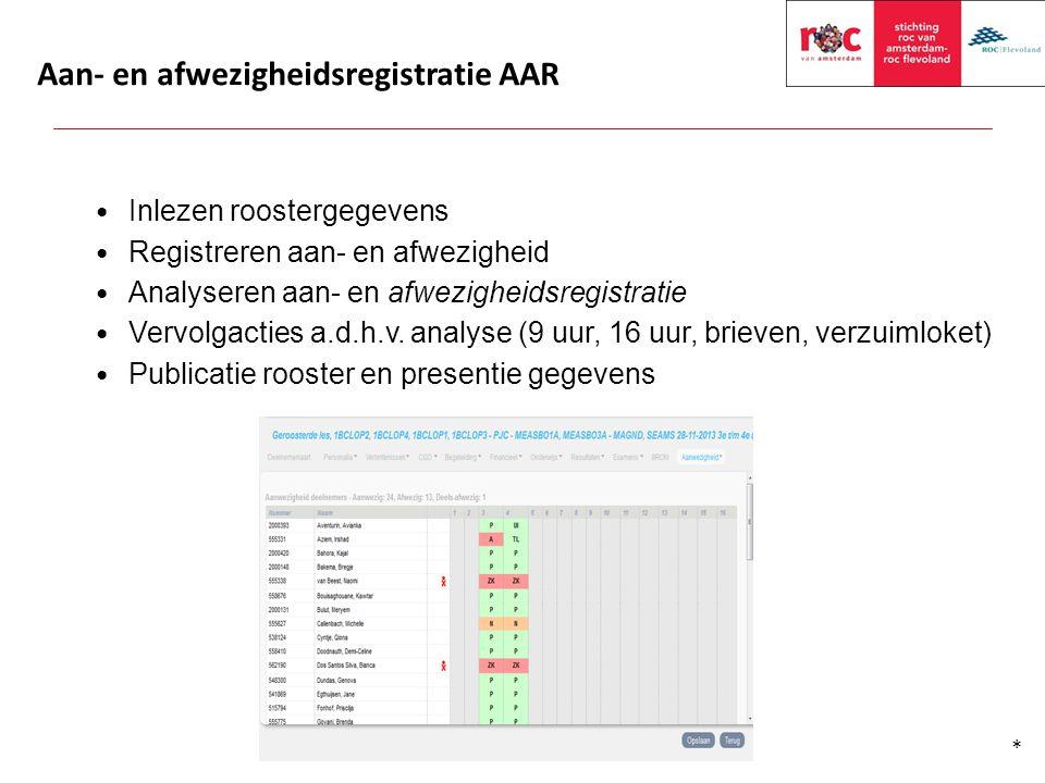 Aan- en afwezigheidsregistratie AAR Inlezen roostergegevens Registreren aan- en afwezigheid Analyseren aan- en afwezigheidsregistratie Vervolgacties a