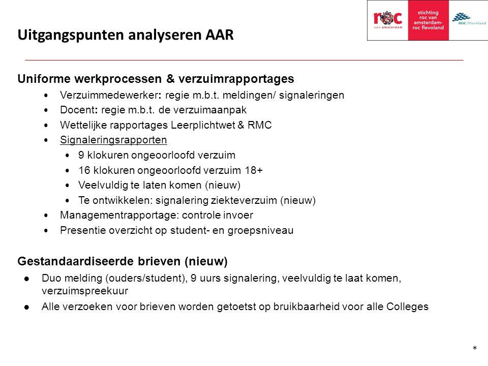 Uitgangspunten analyseren AAR Uniforme werkprocessen & verzuimrapportages Verzuimmedewerker: regie m.b.t. meldingen/ signaleringen Docent: regie m.b.t