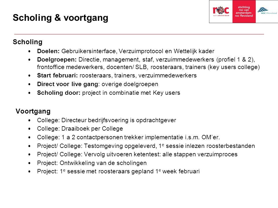 Scholing & voortgang Scholing Doelen: Gebruikersinterface, Verzuimprotocol en Wettelijk kader Doelgroepen: Directie, management, staf, verzuimmedewerk