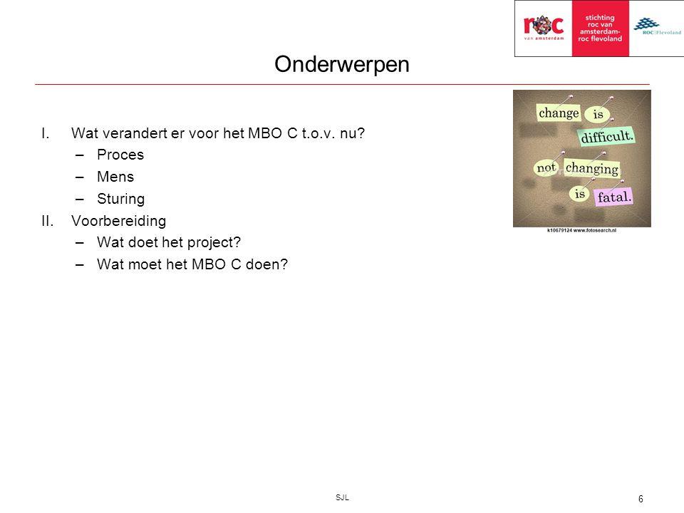 Onderwerpen SJL 6 I.Wat verandert er voor het MBO C t.o.v. nu? –Proces –Mens –Sturing II.Voorbereiding –Wat doet het project? –Wat moet het MBO C doen