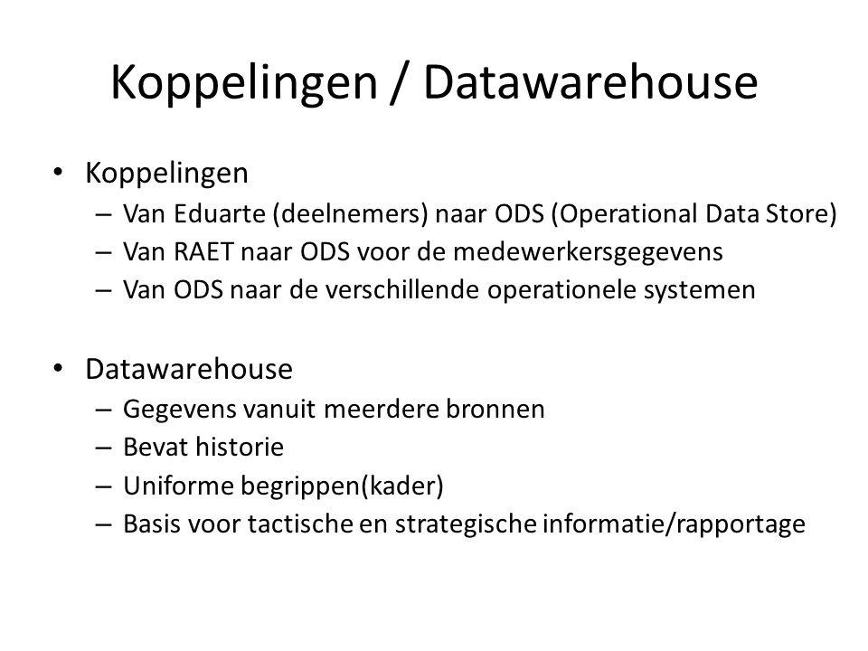 Koppelingen / Datawarehouse Koppelingen – Van Eduarte (deelnemers) naar ODS (Operational Data Store) – Van RAET naar ODS voor de medewerkersgegevens –