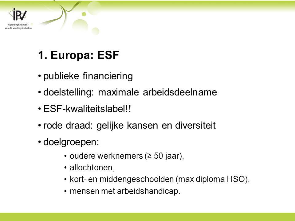 1. Europa: ESF publieke financiering doelstelling: maximale arbeidsdeelname ESF-kwaliteitslabel!.