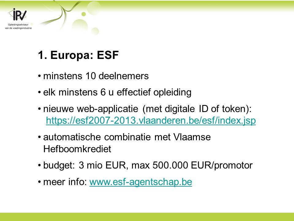 1. Europa: ESF minstens 10 deelnemers elk minstens 6 u effectief opleiding nieuwe web-applicatie (met digitale ID of token): https://esf2007-2013.vlaa