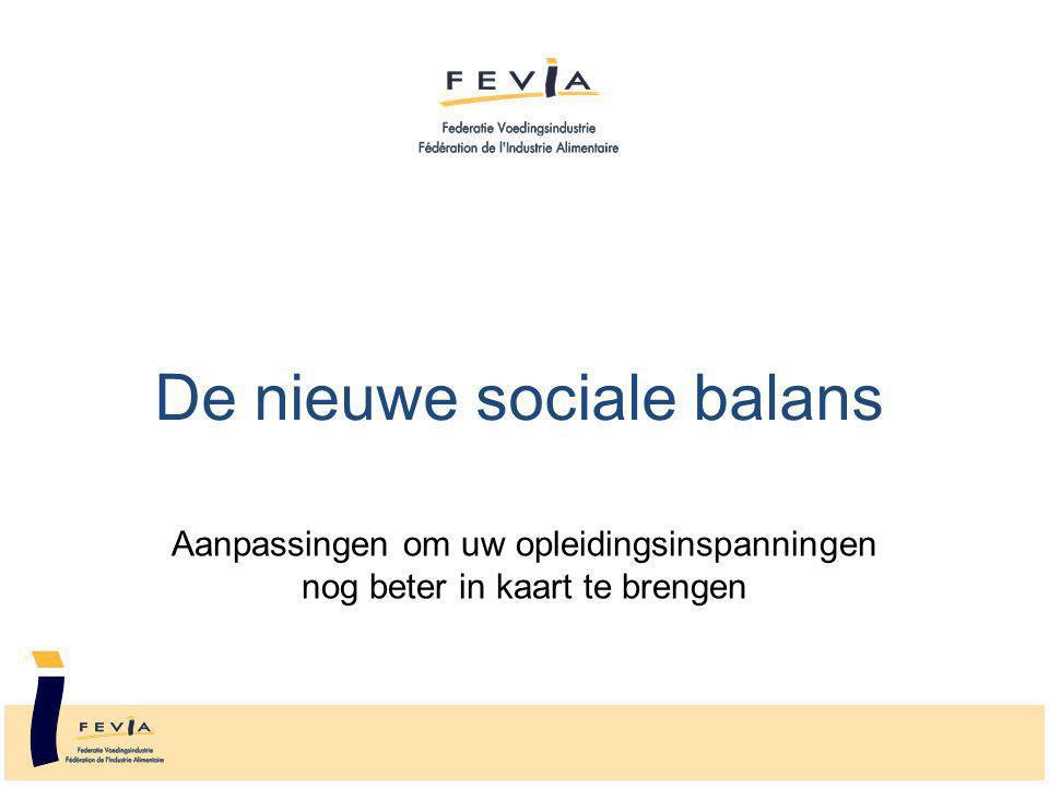 De nieuwe sociale balans Aanpassingen om uw opleidingsinspanningen nog beter in kaart te brengen