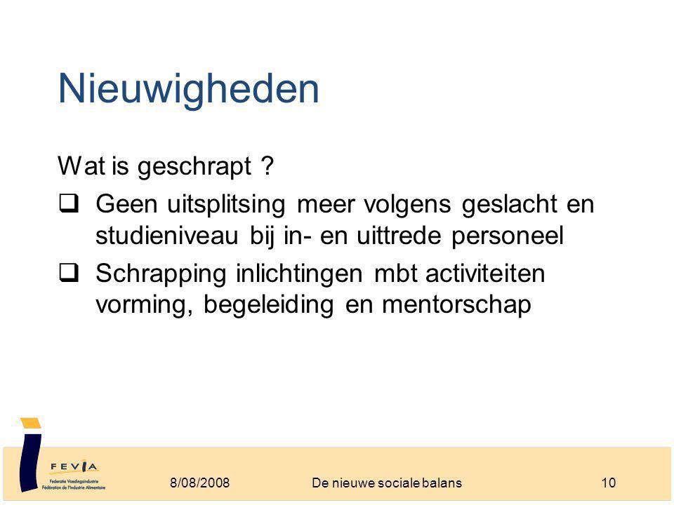 Nieuwigheden Wat is geschrapt .