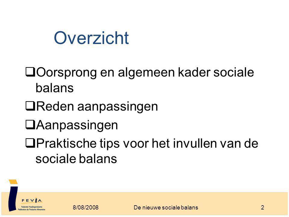 Overzicht  Oorsprong en algemeen kader sociale balans  Reden aanpassingen  Aanpassingen  Praktische tips voor het invullen van de sociale balans 8/08/20082De nieuwe sociale balans