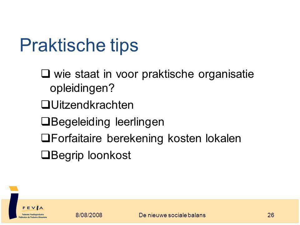 Praktische tips  wie staat in voor praktische organisatie opleidingen.