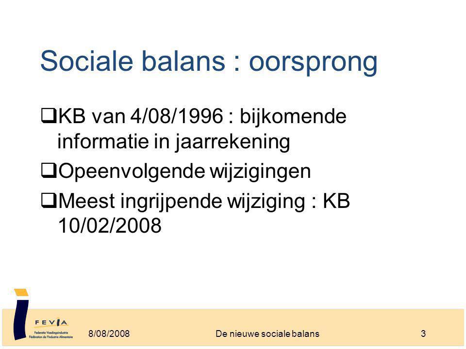 Sociale balans : oorsprong  KB van 4/08/1996 : bijkomende informatie in jaarrekening  Opeenvolgende wijzigingen  Meest ingrijpende wijziging : KB 10/02/2008 8/08/20083De nieuwe sociale balans