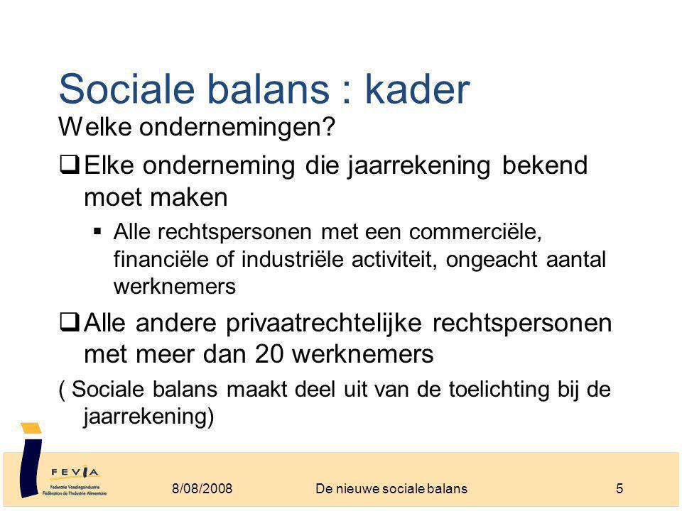 Sociale balans : kader Welke ondernemingen.