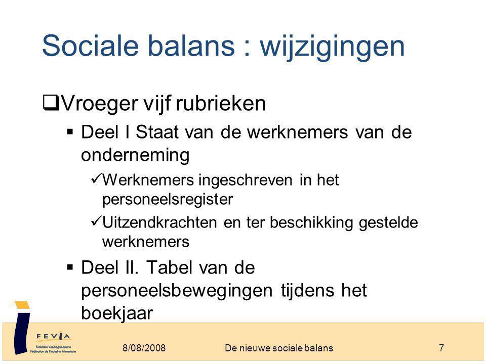 Sociale balans : wijzigingen  Vroeger vijf rubrieken  Deel I Staat van de werknemers van de onderneming Werknemers ingeschreven in het personeelsregister Uitzendkrachten en ter beschikking gestelde werknemers  Deel II.
