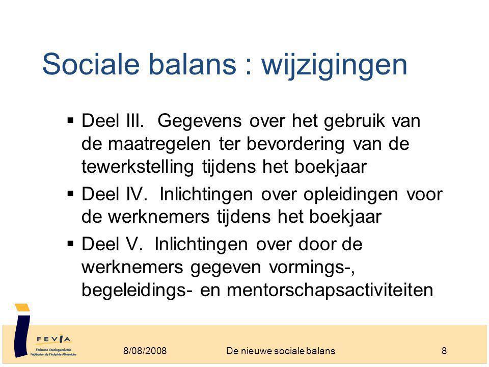 Sociale balans : wijzigingen  Deel III.